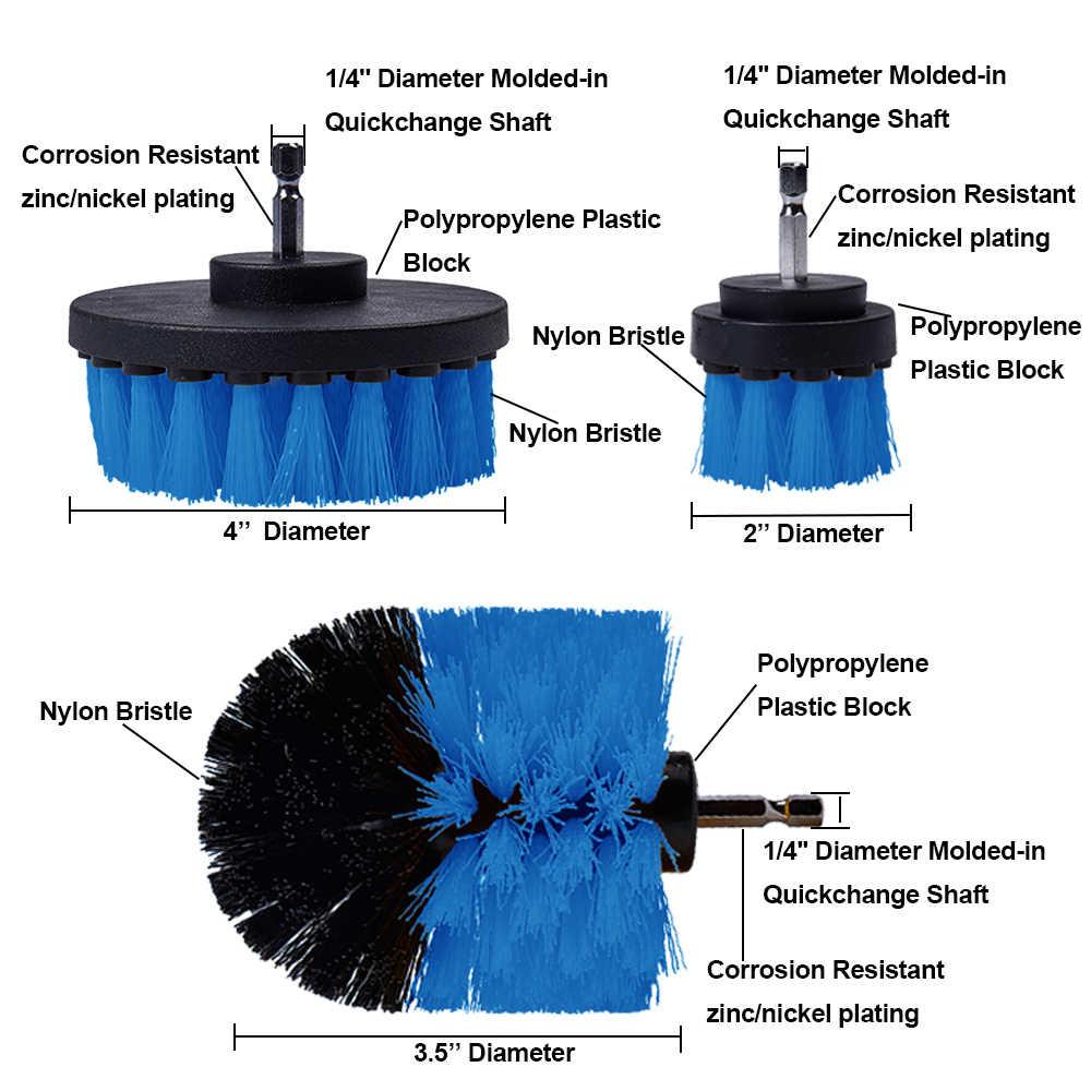 3 قطعة فرشاة الحفر الكهربائية فرك منصات عدة السلطة الغسيل تنظيف عدة تنظيف فرشاة تجوب الوسادة ل السجاد الزجاج سيارة نظيفة