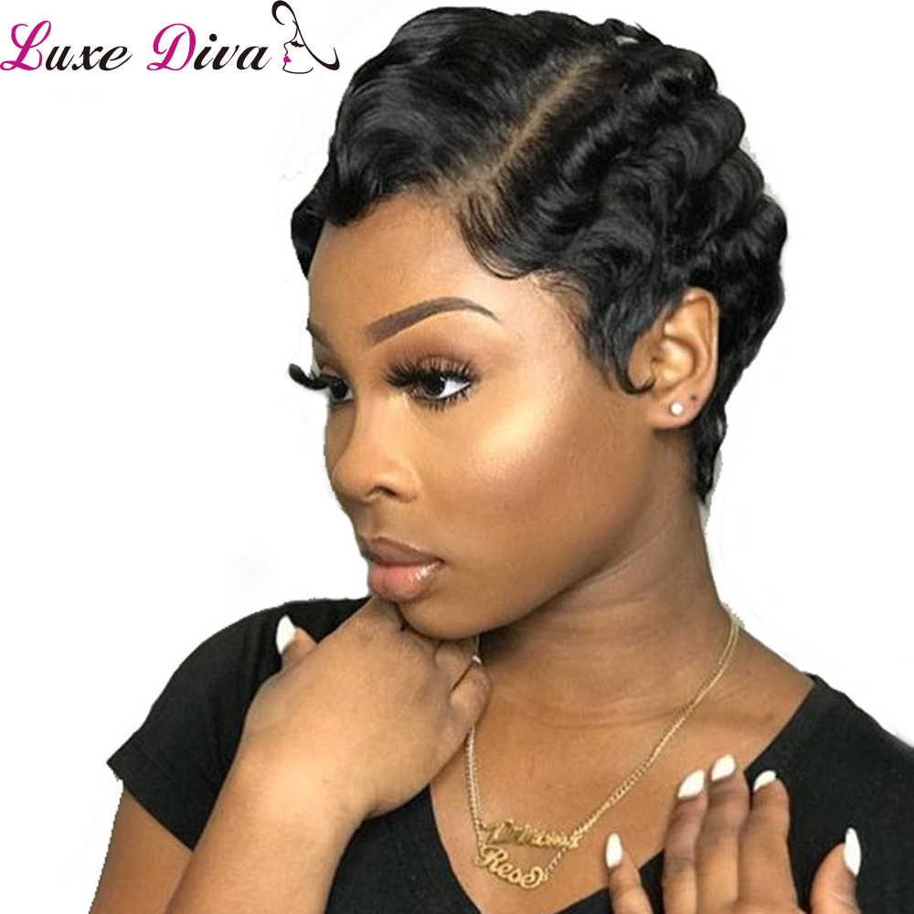 Luxediva Hair Short Lace Human Hair Wigs For Women Brazilian Finger Wave Wig Remy Human Hair Pixie Cut Lace Wigs For Black Women