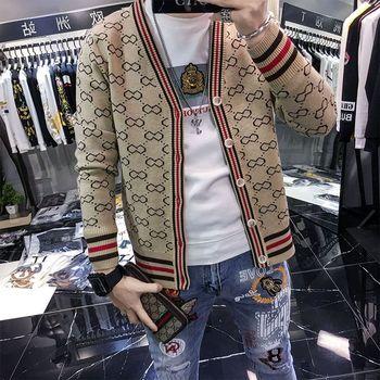 Plaid Sweater Jacket Men s Cardigan Fashion 2020 Spring and Autumn New Long-Sleeved British Style