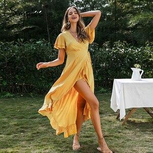 Image 2 - Simplee vestido com decote em v boho, de algodão, manga curta, de férias, praia, maxi vestido casual, cor lisa, amarelo, primavera/verão, envoltório