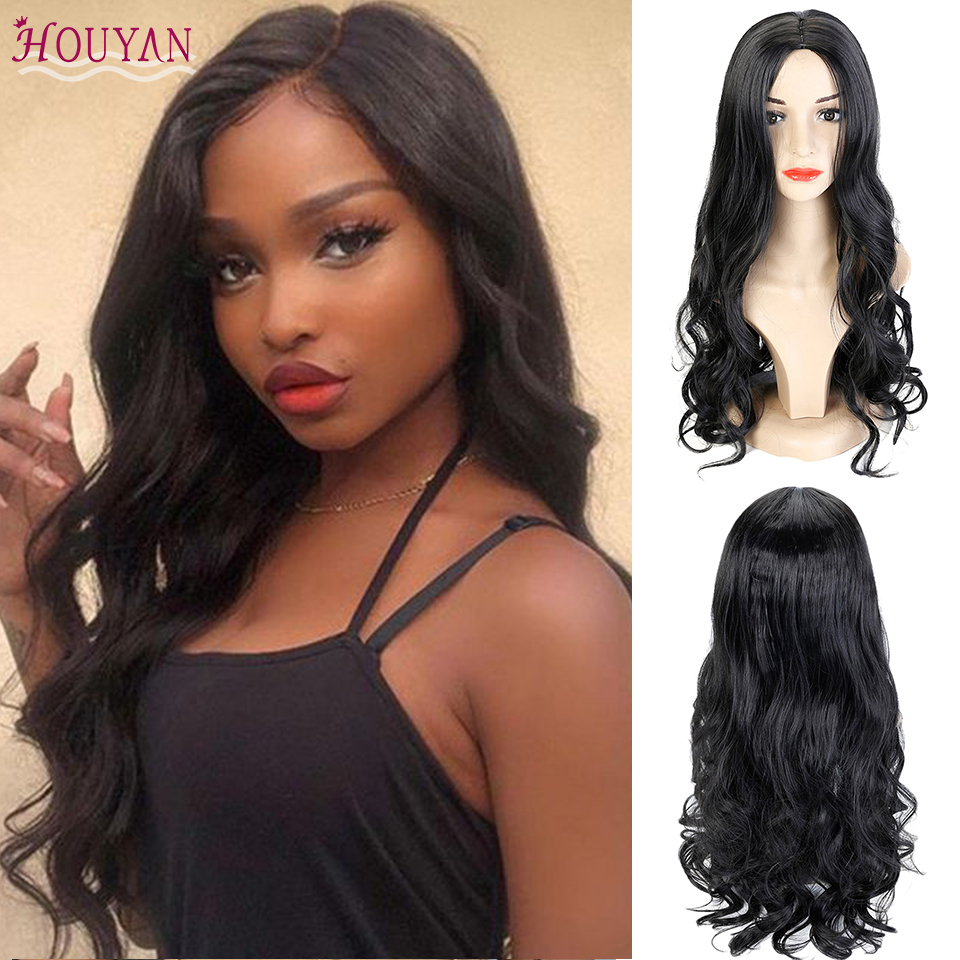 Houyan 25 polegada de cabelo encaracolado longo peruca sintética encaracolado peruca resistente ao calor para feminino diário festa usar peruca