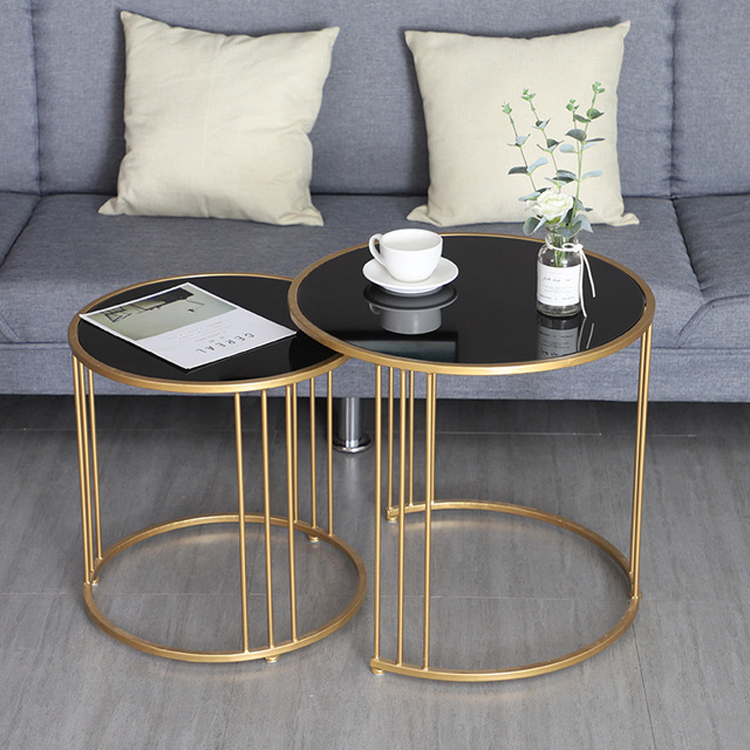 Simple Gold Iron Coffee Table Living Room Luxury Sofa End Table Nordic Metal Frames Glass Table Top 2 Table Combination