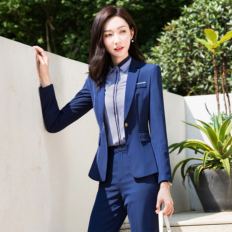 Women's Professional Suit Autumn New High Quality Solid Color Slim Jacket Female Casual Pants Suit Workwear Two-piece 2019