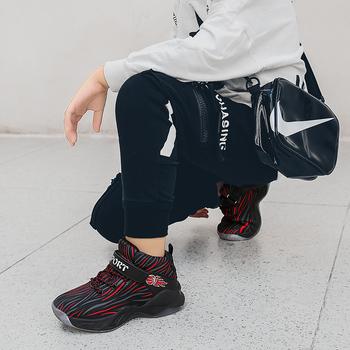 Marka wysokiej jakości chłopców buty do koszykówki antypoślizgowe skórzane trampki dla dzieci dzieci buty sportowe chłopiec dziecko trener kosz buta góry tanie i dobre opinie vinsinw Unisex CN (pochodzenie) Wszystkie pory roku RUBBER