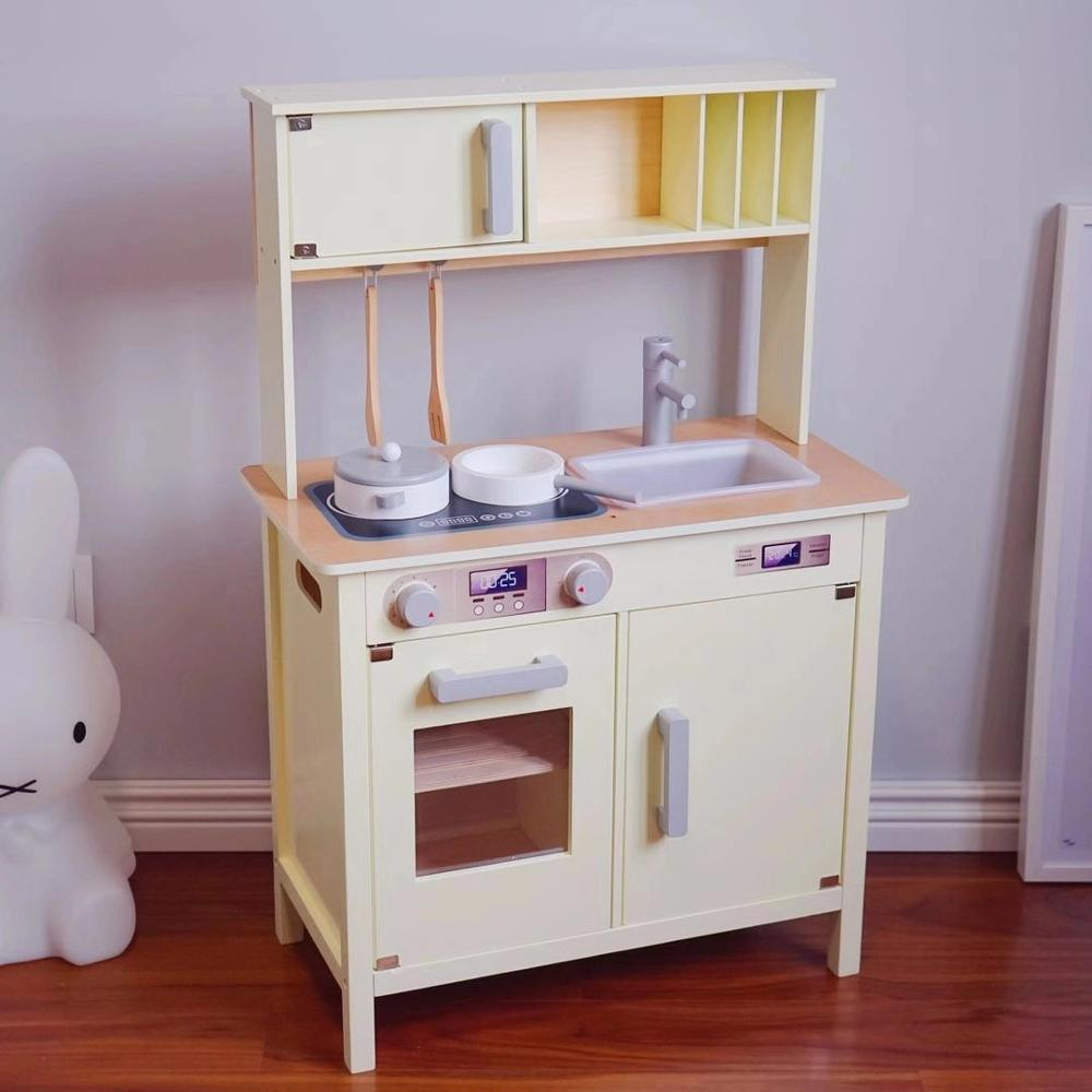 Big Size Wooden Kitchen Toys Pretend Play Cooking Toys Real Life Cosplay Tableware Sets Baby Kitchen Cooking Simulation Wood Toy