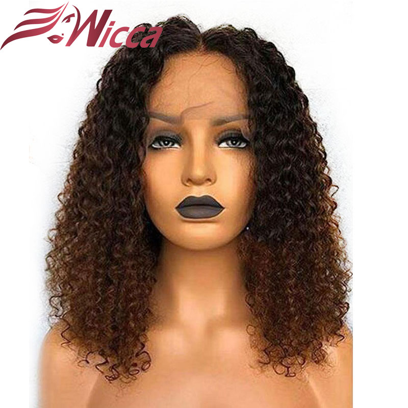Curly 13X6 Lace Front Human Hair Ombre Highlight Wigs For Women Pre Plucked Natural Hairline With Baby Hair Brazilian Remy Hair