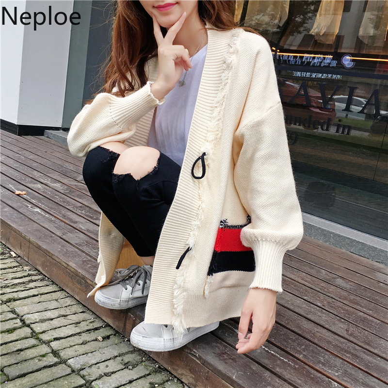 Neploe Sweaters Women Coat Patch Loose Elegant Sweet Casual V-Neck Long Invierno Mid