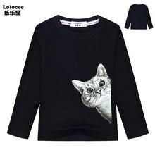 2021 bonito sorrateiro gato t camisa crianças dos desenhos animados topo menino menina manga longa engraçado gato básico t roupas casuais