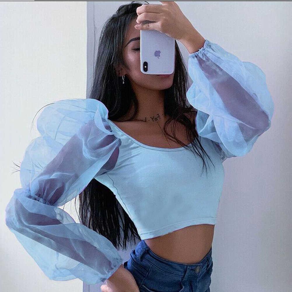섹시한 메쉬 블라우스 Women See Through Perspective 퍼프 슬리브 탑스 백 레스 패치 워크 슬림 U 넥 티셔츠 Blusa