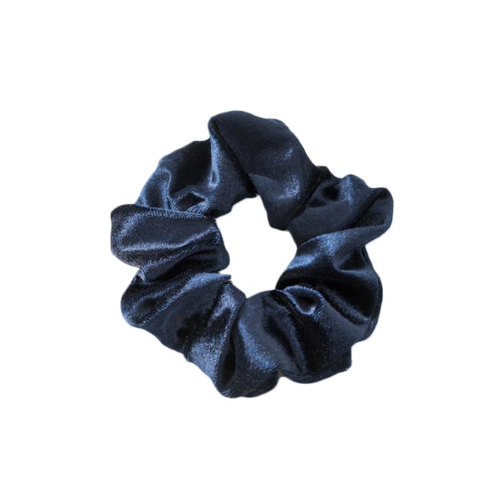 1 шт., женское эластичное кольцо для волос, зимние мягкие бархатные резинки, резинки для волос, милые одноцветные аксессуары для волос, держатель для конского хвоста - Цвет: navy