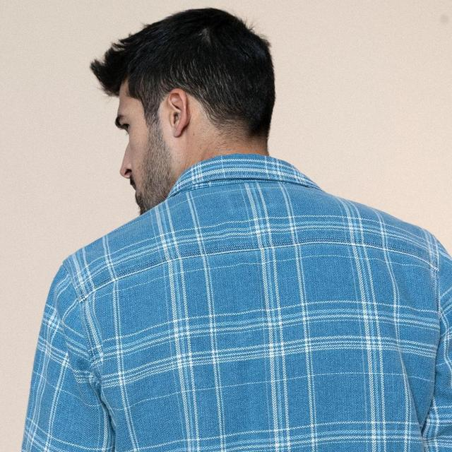 Plaid denim shirts with checks in two colors