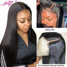 Lanqi – perruque lace closure wig brésilienne naturelle, cheveux lisses, 4x4, pour femmes africaines, vente en gros