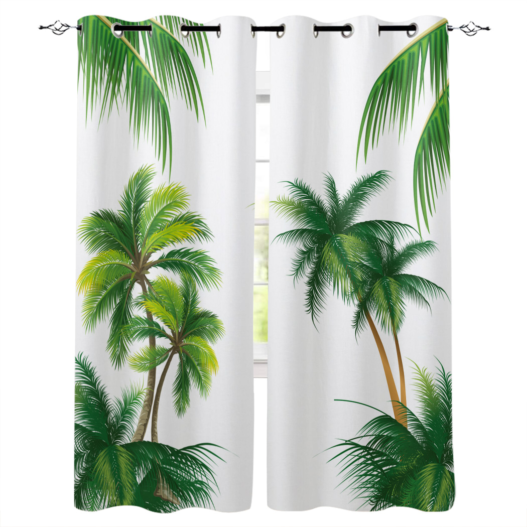 Beach Coconut Tree Summer Curtains Window Living Room Curtains Kitchen Indoor Window High Blackout Curtain Thick