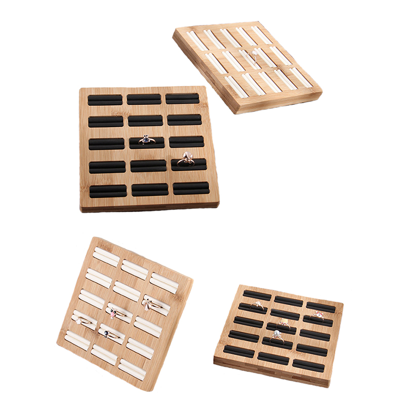 15 Grids Rings Storage Tray Jewelry Display Rack Bamboo PU/Velvet Jewelry Rings Organizer Rack Display Showcase Shelf