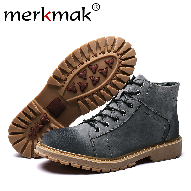 Merkmak New Autumn Leather Boots Fashion Lace-up Ankle Booties Warm Non-slip Winter Work Boots Big Size 38-44 Male Casual Shoes