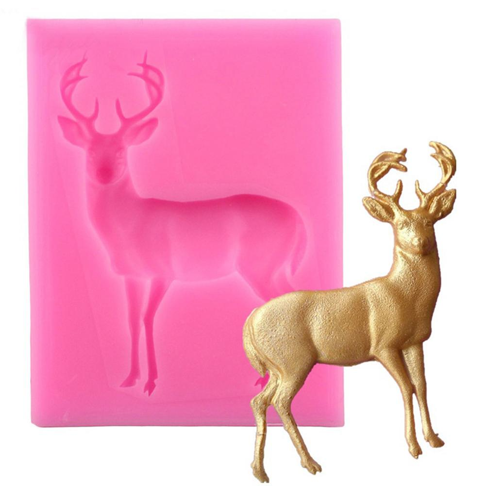 Eco-Friendly Christmas Deer Silicone Mold Fondant Cake Chocolate Cookie DIY Decorating Baking Mould Kitchen Accessories