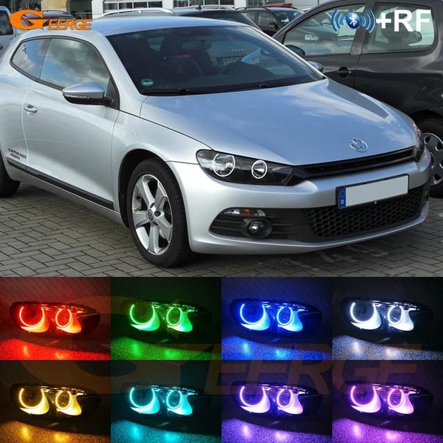 Volkswagen VW Scirocco için 2008 2009 2010 2011 2012 2013 için mükemmel RF uzaktan Bluetooth APP çok renkli RGB led melek gözler kiti