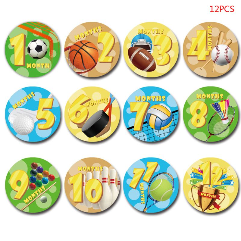 12 Pcs/Set Month Sticker Baby Photography Newborn Commemorative Memorial Stickers Milestone Monthly Pregnant Women Belly Photo