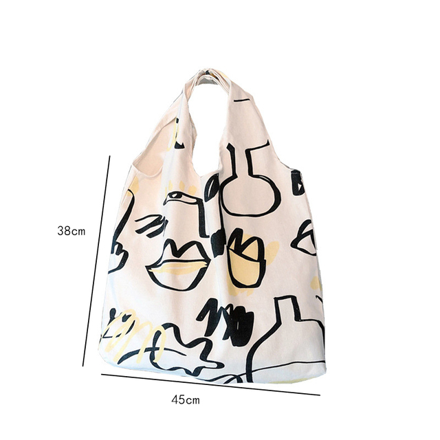Japanese INS Beige Canvas Hobo Bag Cartoon Graffiti Pattern Half Moon Shoulder Bag Casual eco friendly Shopping Bag Girls Purse 4