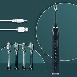 AZDEN nuevo cepillo de dientes eléctrico sónico cargador USB 10 modos cepillo de dientes 5 cabezas de repuesto temporizador resistente al agua para adultos limpieza Oral