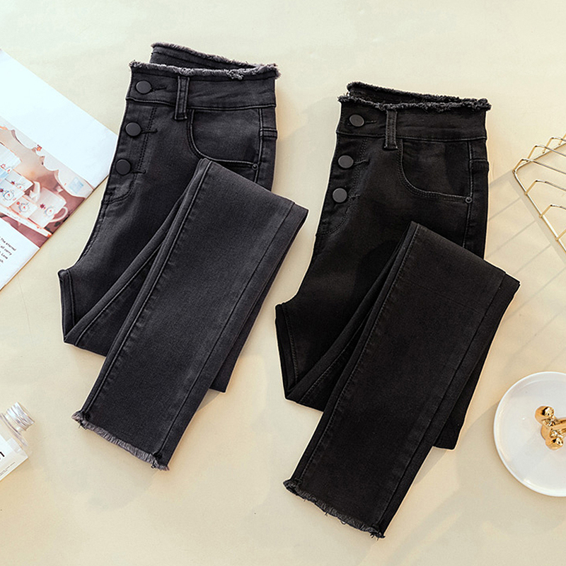 High Waist Ripped Skinny Pencil Jeans Woman Plus Size Gray Black Mom Stretch jeans Ladies women jeans pants Denim jeans mujer