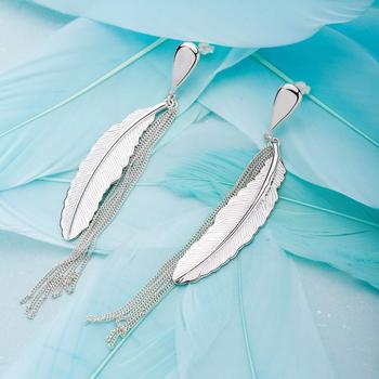 SA SILVERAGE Fashion Jewelry Earrings Real 925 Sterling Silver Drop Earrings for Women Fine Jewelry Long Feather Tassel Women sa silverage silver set 925 black stone star necklace and earrings set for female women pure silver jewelry s925 birthday gift