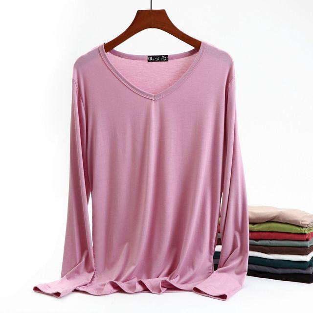 Autumn Women Cotton T Shirt Top Long Sleeve Black White Casual Tee Shirt Femme Female Slim Sexy Tops Plus Size Fashion Clothes 1