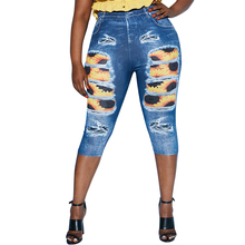 Jeans Pockets Pencil-Pants Sunflower Skinny Ripped Printed High-Waist Calf-Length Plus-Size