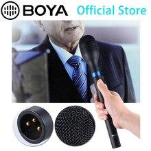 Mais novo boya BY-HM100 omni-direcional sem fio handheld microfone dinâmico xlr alça longa para eng & entrevistas & reunião de notícias