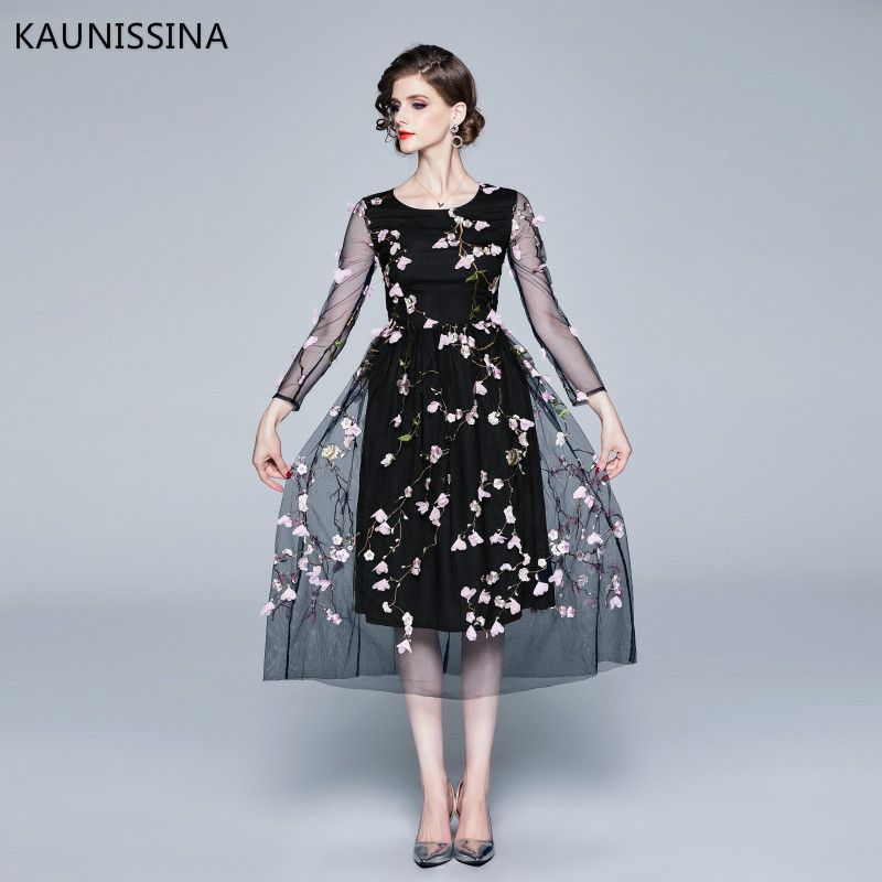 KAUNISSINA High Quality Long Cocktail Dresses Floral Embroidery Mesh Long Sleeve Party Robe Formal Proms Cocktail Dress