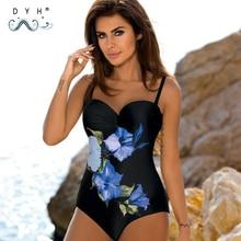 цена на 2020 сексуальный цельный купальный костюм, пляжный женский купальный костюм-печать-купальник