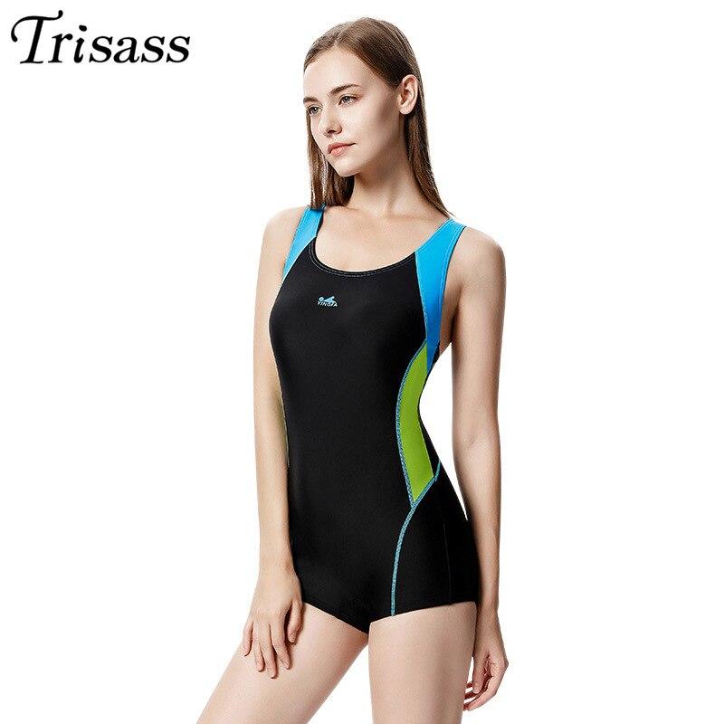 Trisass Yingfa Profession course siamois maillot de bain femmes boxeurs maillots de sport serré-Fit dos nu L-3XL