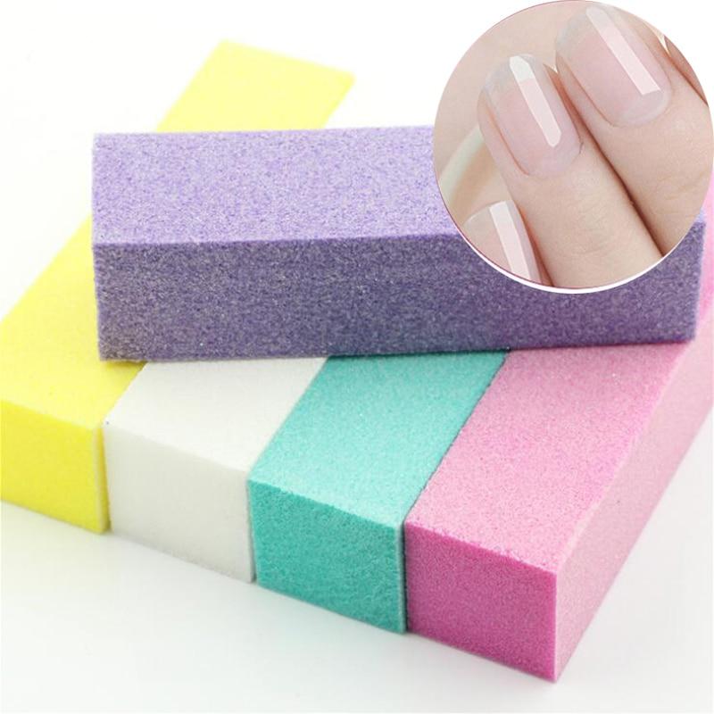 1 Pc Nail Buffers Curve Straight Sanding Sponge Files Grinding Polishing Black Pink Nail File Manicure Nail Art Tool Kit