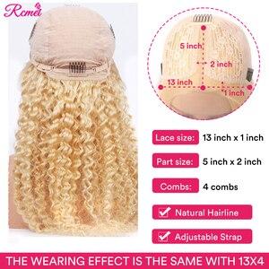 Image 2 - Orta kısmı 613 sarışın dantel ön peruk derin dalga İnsan saç peruk bebek saç ile Remy brezilyalı ön koparıp 13*1 adet dantel peruk 150