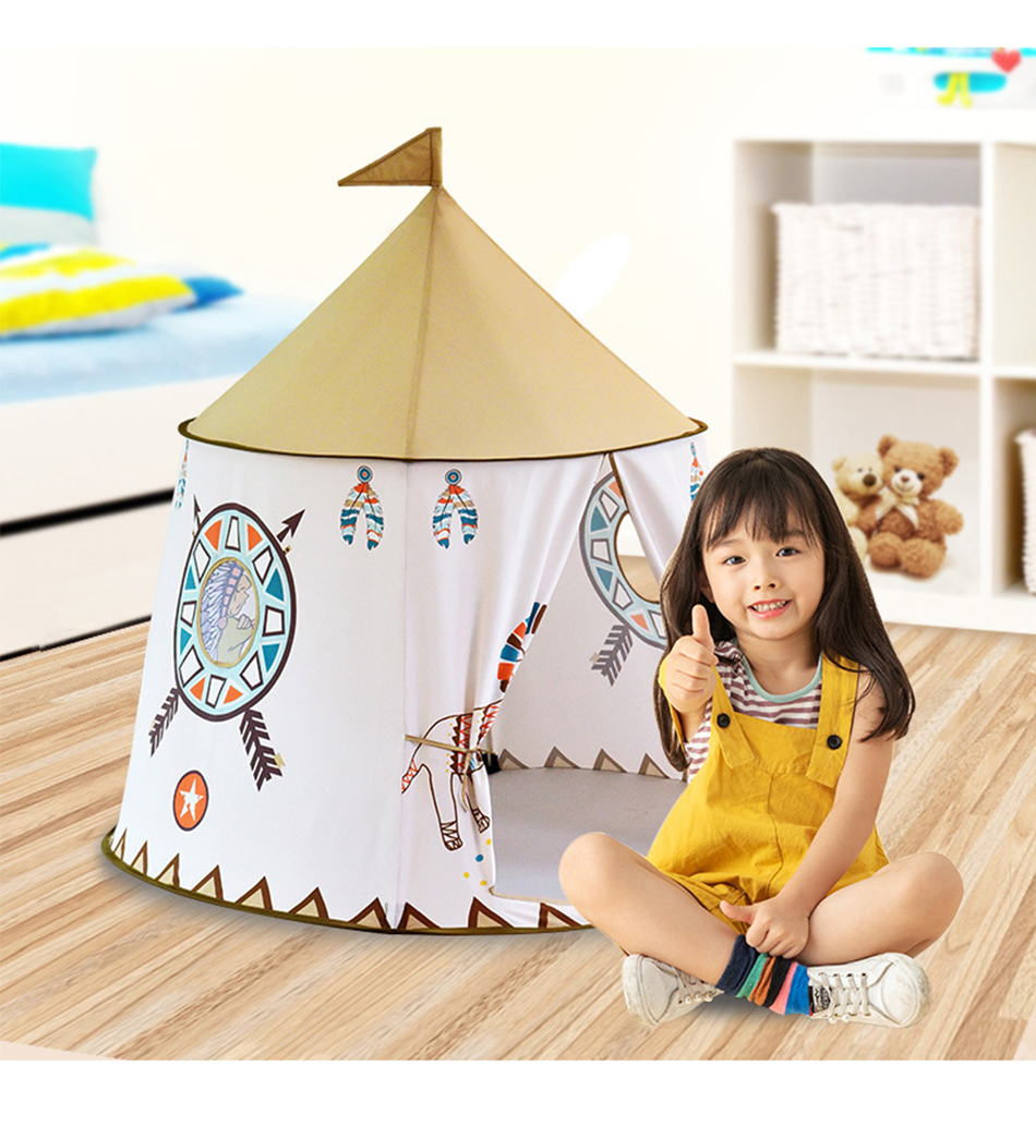 Foldable Children's Tent For Kids Baby Play House Wigwam Princess Castle Teepee Kids Present Hang Flag Tent Children's Room Toy image