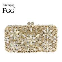 Boutique De FGG Elegant Women Flower Crystal Box Clutch Evening Bag Minaudiere Handbags Diamond Wedding Bridal Purse Bolso Mujer