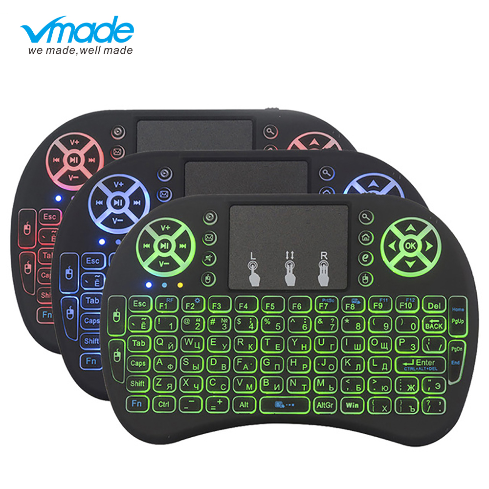 Vmade I8 Mini Wireless Backlit Keyboard 3 Color English / Russian / Spanish 2.4GHZ Air Mouse For Smart TV Box Android X96 Laptop