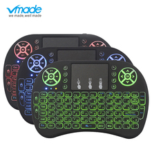 цена на Vmade i8 Mini Wireless Backlit Keyboard 3 Color English / Russian / Spanish 2.4GHZ Air Mouse For Smart TV Box Android X96 Laptop