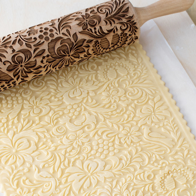 Embossing Wood Rolling Pin DIY Baking Cookies Noodle Biscuit Fondant Cake Engraved Stencil Rolling Pins Pastry