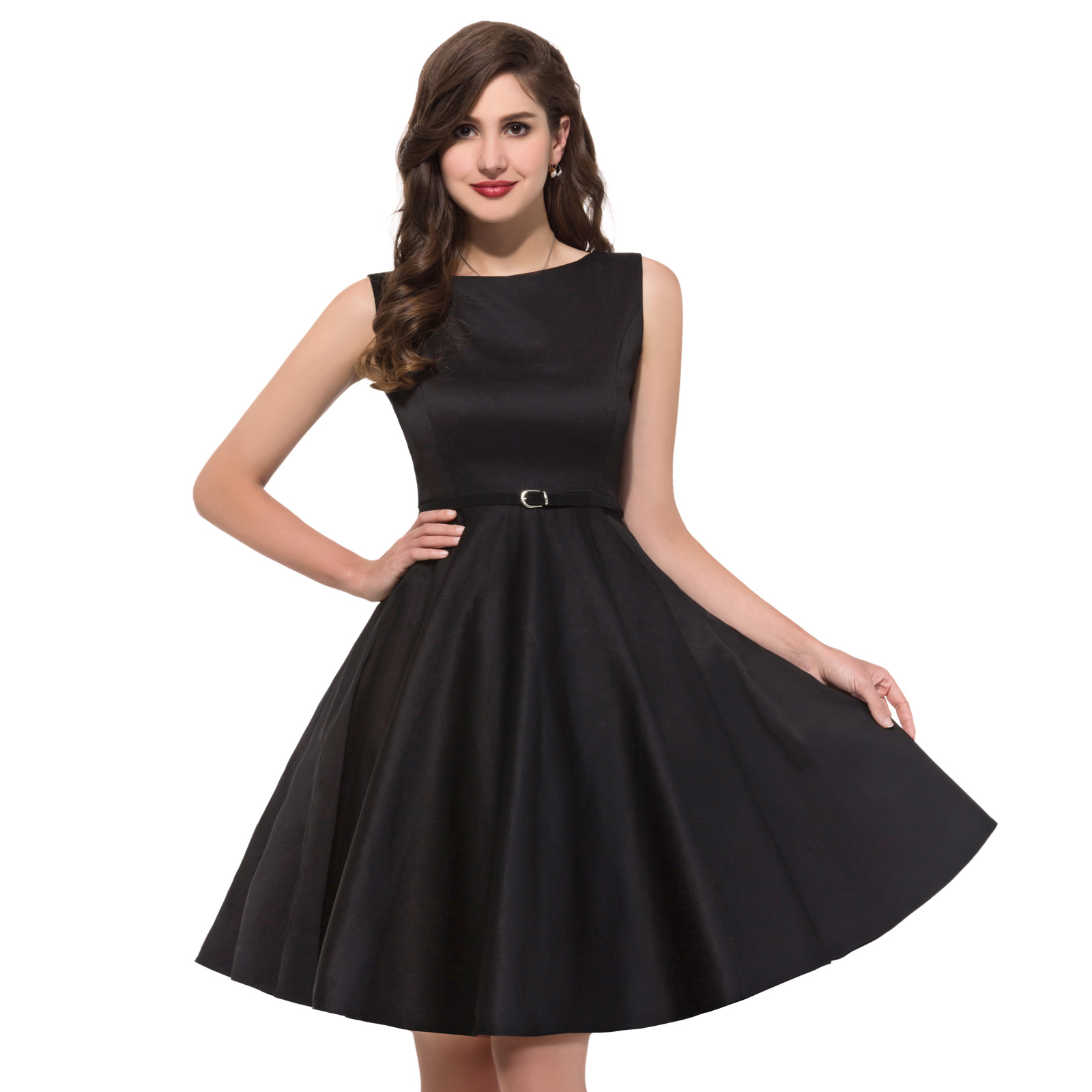 Grace Karin Women Vintage Dresses 2020 Summer Cotton Belt Audrey Hepburn Plus Size London Princess Casual Party Pin up Dress New