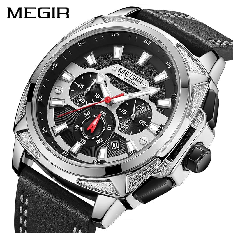 MEGIR 2020 новые мужские часы, мужские модные спортивные часы с кожаным ремешком, кварцевые деловые наручные часы, Reloj HombreСпортивные часы   -