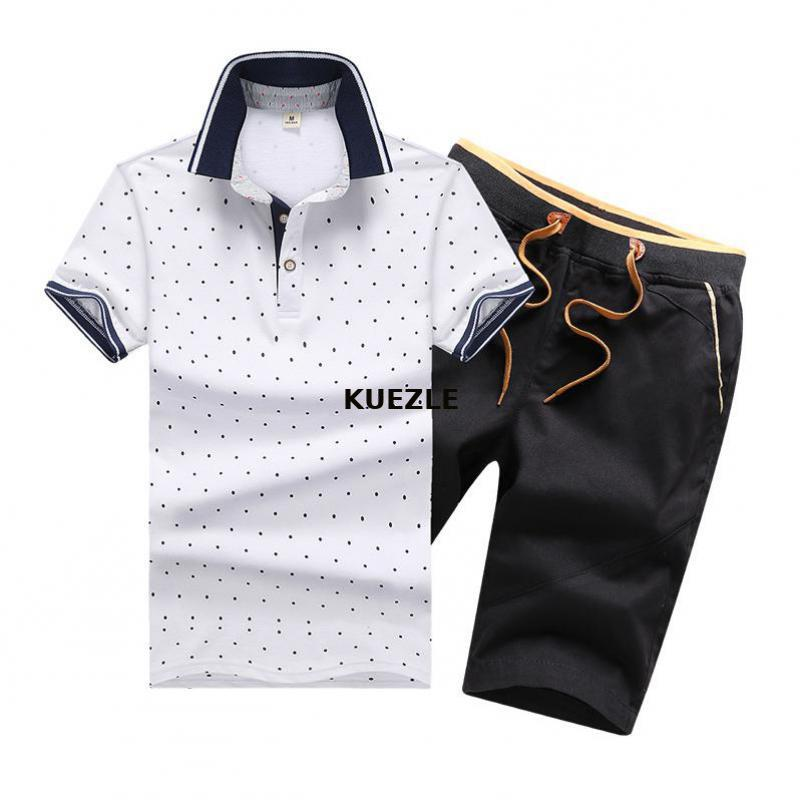Men T-Shirt + Shorts 2020 Cotton 95% Printing Fashion Slim Short Sleeve Dot Breathable Men's Suit Casual Shirts Plus Size 4XL