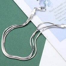 Браслеты на ногу Многослойные из серебра 925 пробы, пикантные пляжные анклеты со змеиными косточками, цепочка на ногу, бижутерия