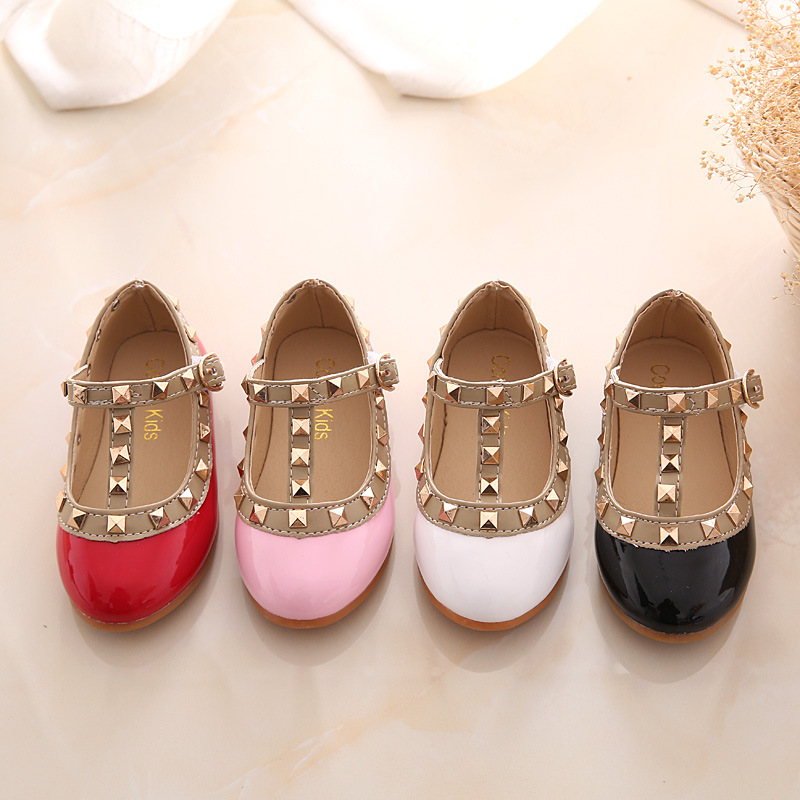 2020 New Spring Summer Autumn Design Kids Leather Shoes Rivets Girls Shoes Princess School Toddler Mary Jane Dress Shoes D02111