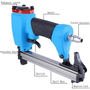 Image 4 - U type Pneumatic Air Stapler 13mm Nailer Fine Stapler Tool Furniture Blue Nailer Woodworking Pneumatic Air Power Gun Riveter