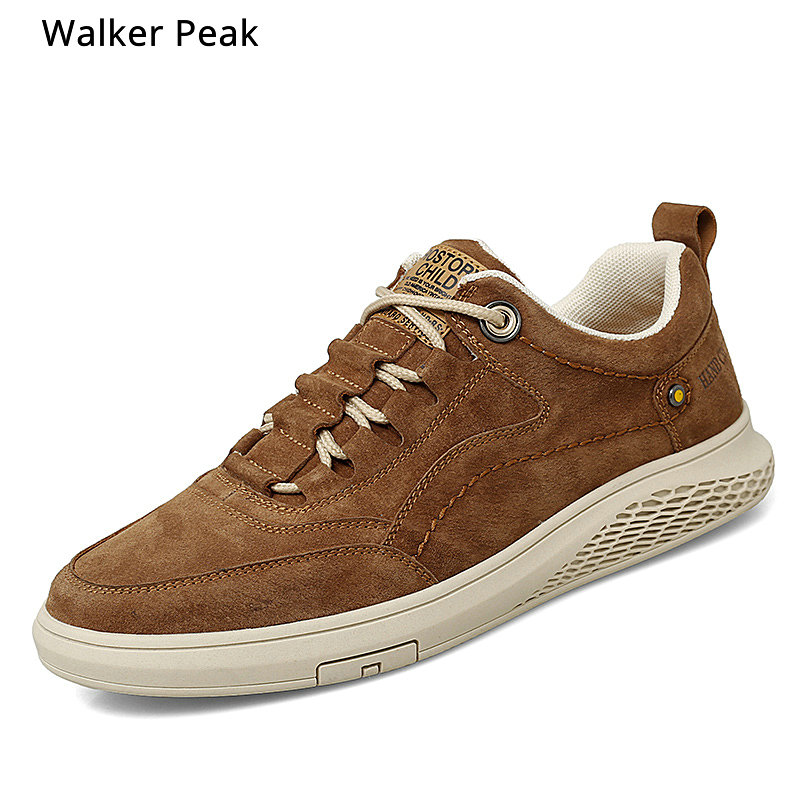 Mens Sneakers Fashion Leather Casual Shoes Men Lace Up New 2020 Sneaker Rubber Sole Non-slip Breathable Soft Flats Men Shoes