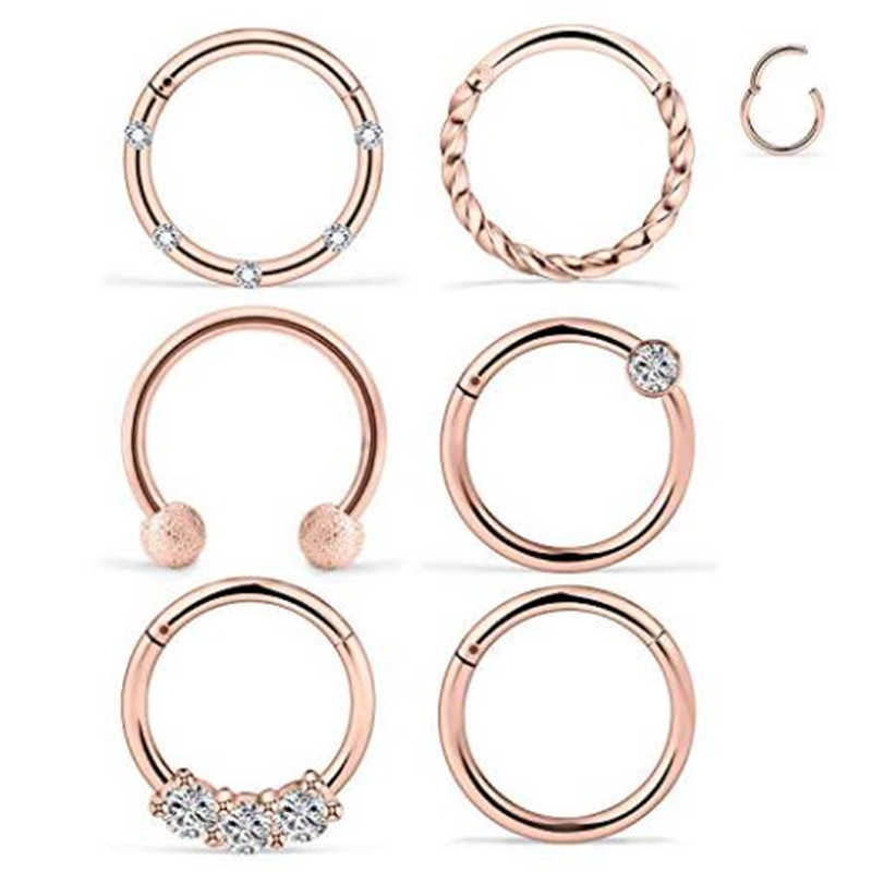 16g 6pcs 316l Stainless Steel Septum Nose Rings Hoop Clicker Ring