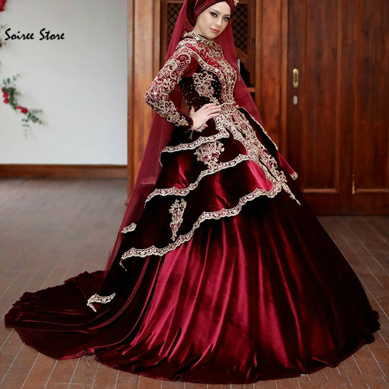 Vintage Muslim Burgundy Wedding Dress Long Sleeve Ball Gown Arabic Indian Wedding Gown High Neck Beaded Velvet Satin Robes 2020