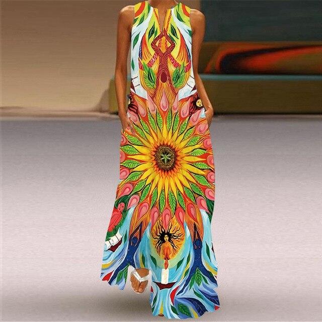 MOVOKAKA Heart Print Vintage Dress 2021 Party V Neck Summer Sundresses Elegant dresses Women Casual Beach Maxi Dresses For Women 3