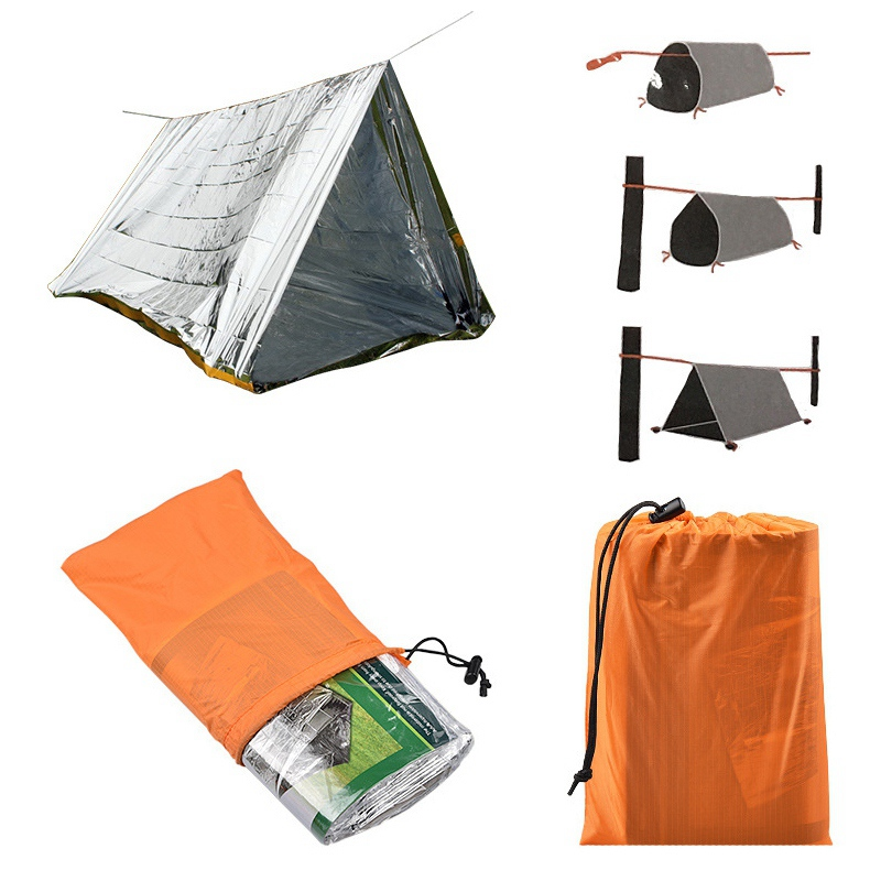 Outdoor Activities Emergency Tube Survival Shelter Blanket Tent Durable Tent Shelter Tarp For Camping Hiking Mountaineering